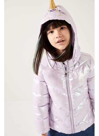 DeFacto Kız Çocuk Kapüşonlu Unicorn Mont Mor